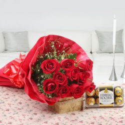 red roses n ferrero rocher chocolates