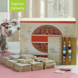 kaju sweets and rakhis