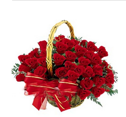 Round Basket of Red Roses