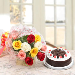 rose and black forest cake