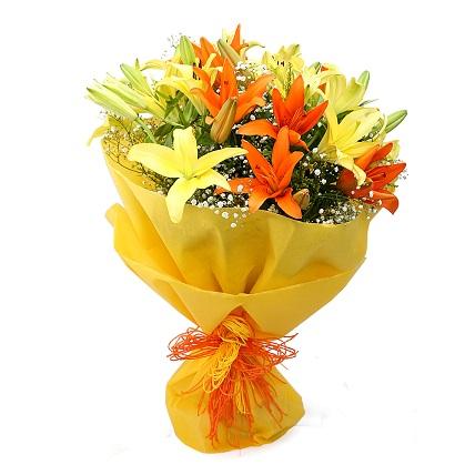 yellow and orange lillies