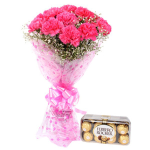 Bunch of 15 Pink Carnations with 300 grams Pack of Ferrero Rocher Chocolates